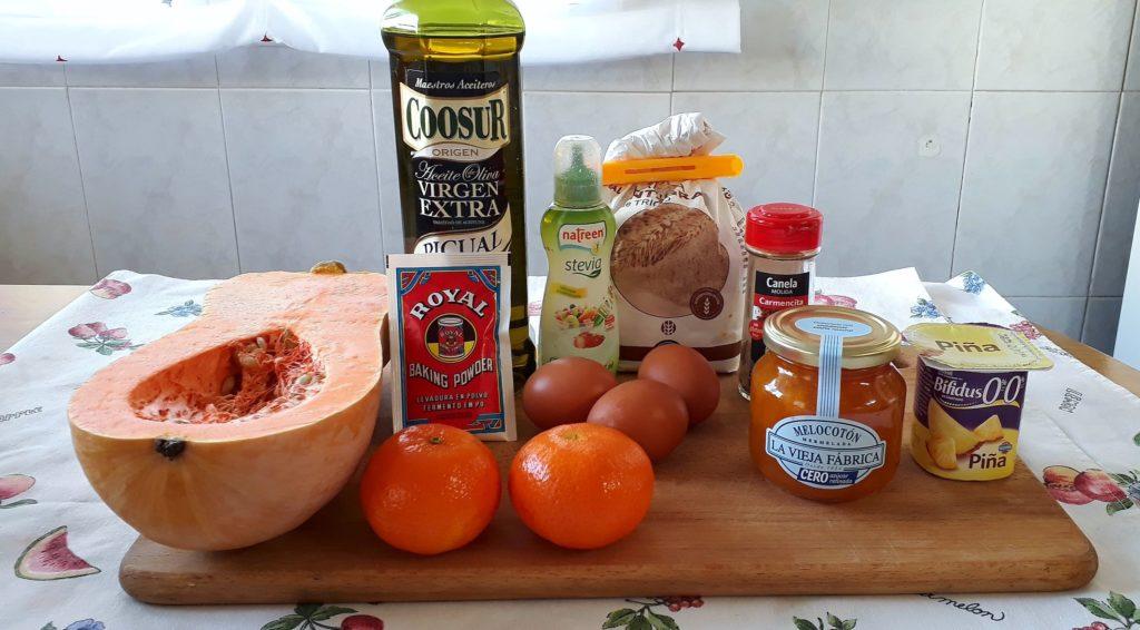 Ingredientes utilizados para el bizcocho sin azúcar de calabaza